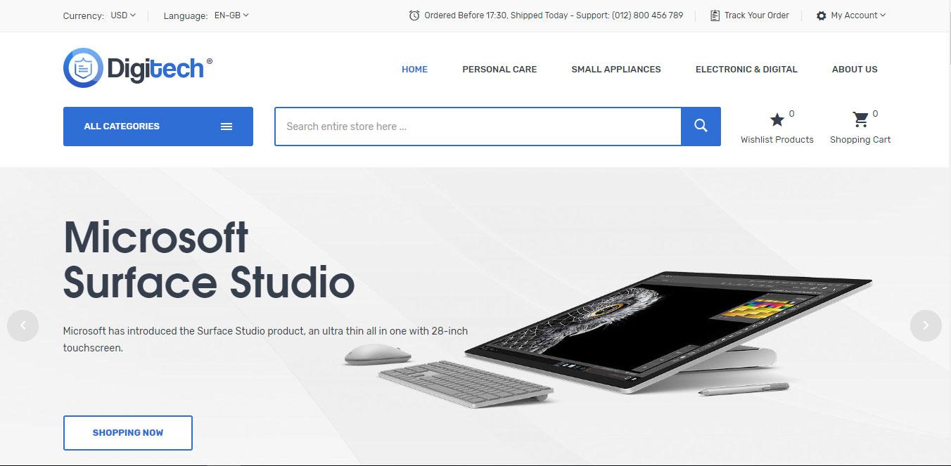 Mẫu thiết kế web bán hàng đồ công nghệ