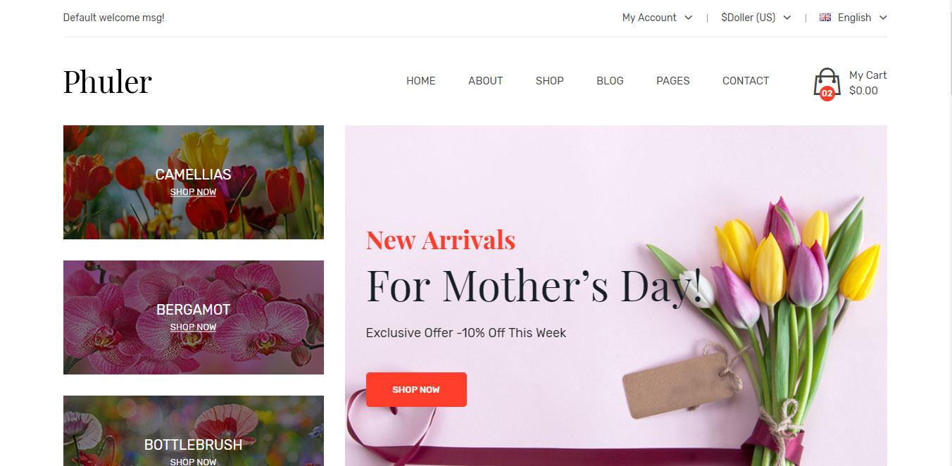 Mẫu thiết kế web bán hàng shop hoa tươi