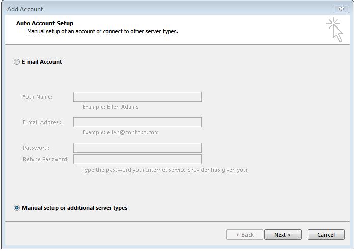 Cấu hình email server trên outlook