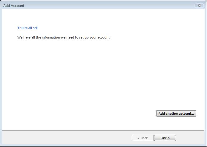 Hướng dẫn cài đặt email server trên outllook màn hình cuối
